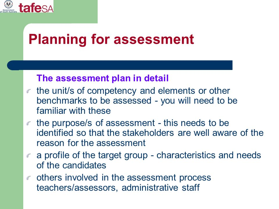 Planning for assessment