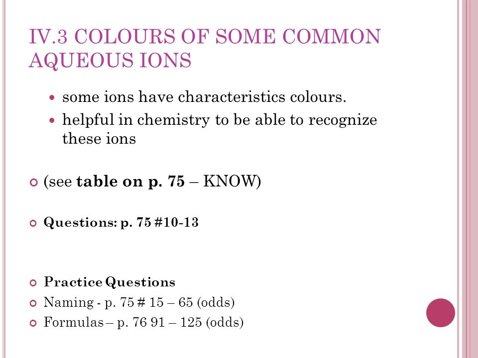 IV.3 Colours of Some Common Aqueous Ions
