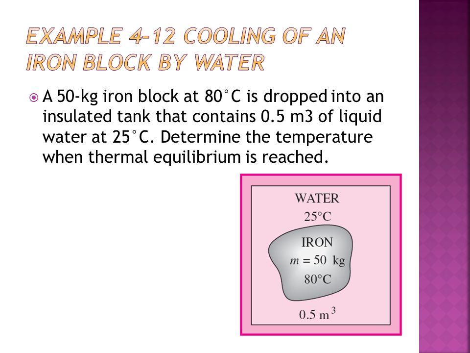 EXAMPLE 4–12 Cooling of an Iron Block by Water