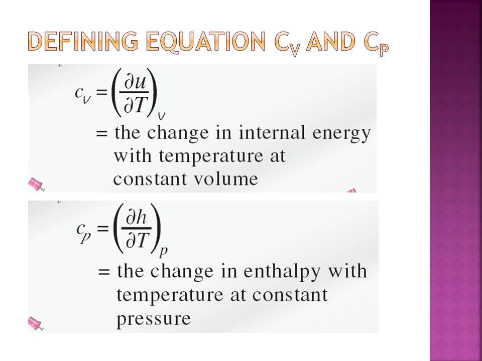 Defining equation Cv and Cp