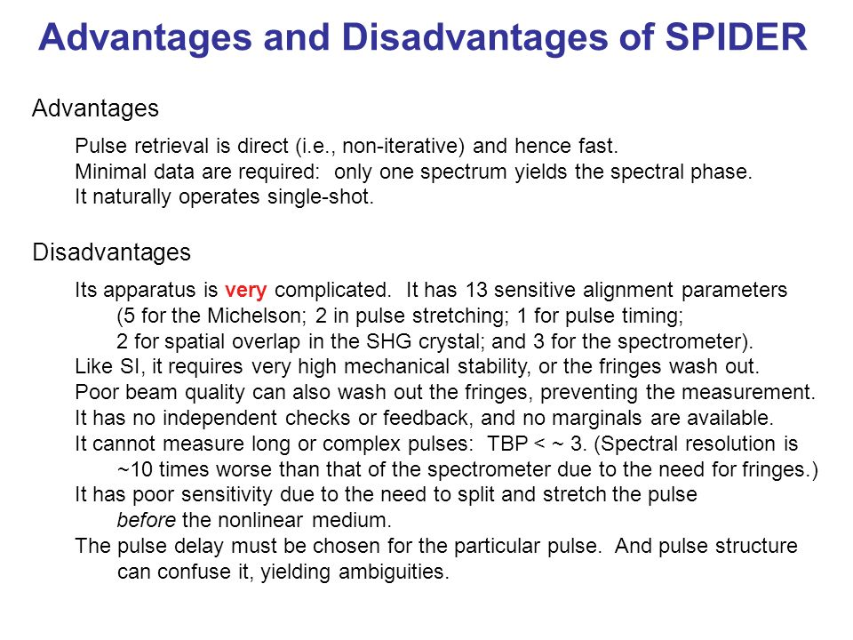 Advantages and Disadvantages of SPIDER