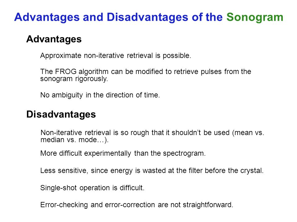 Advantages and Disadvantages of the Sonogram