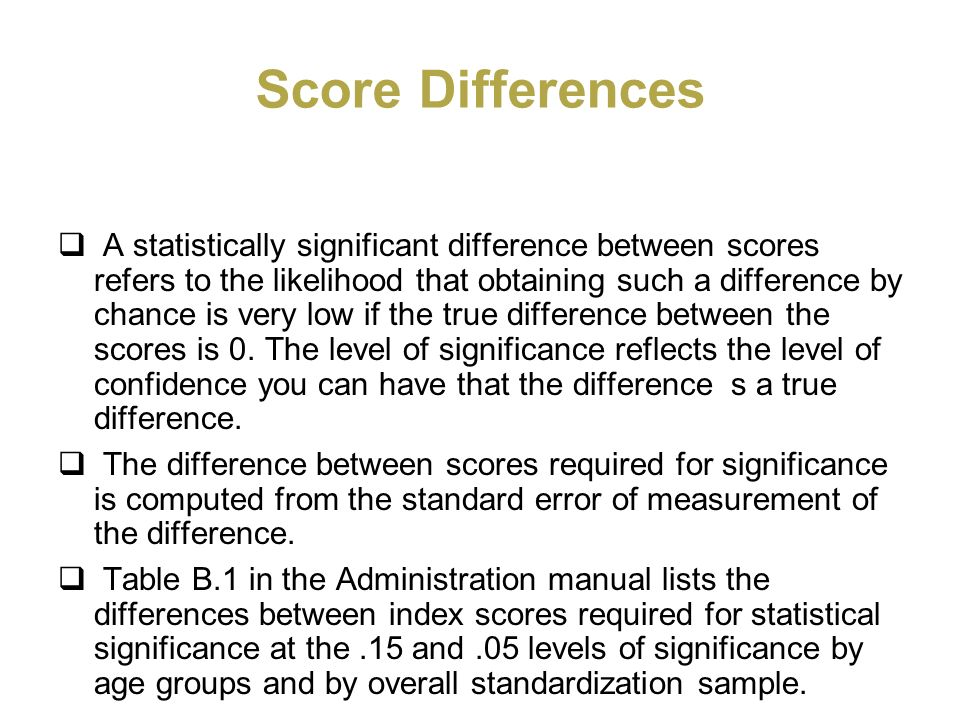 Score Differences