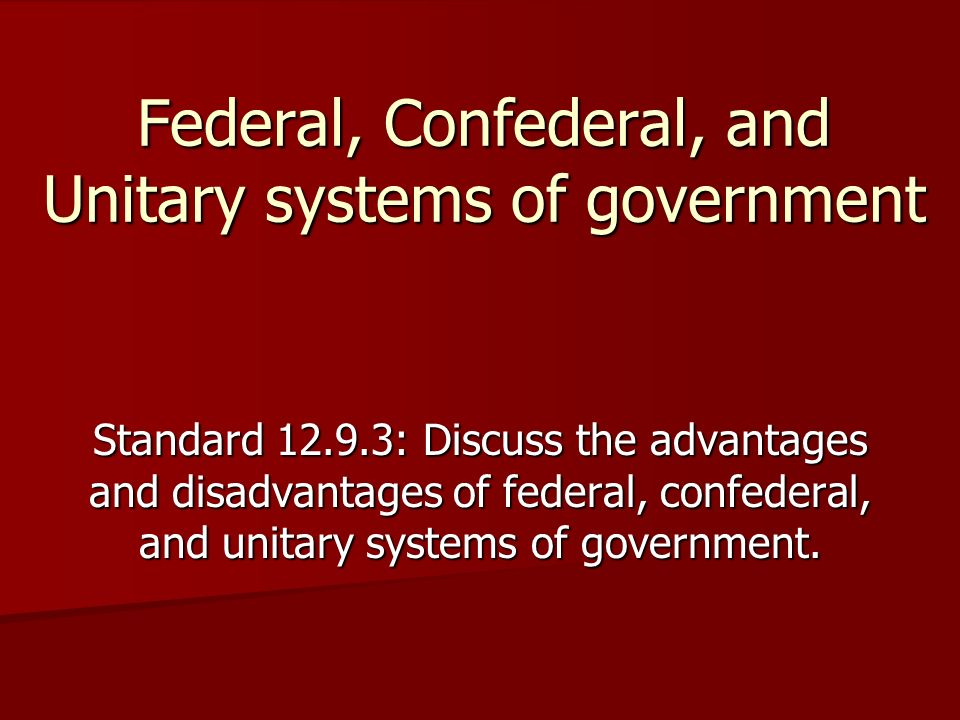 Federal, Confederal, and Unitary systems of government