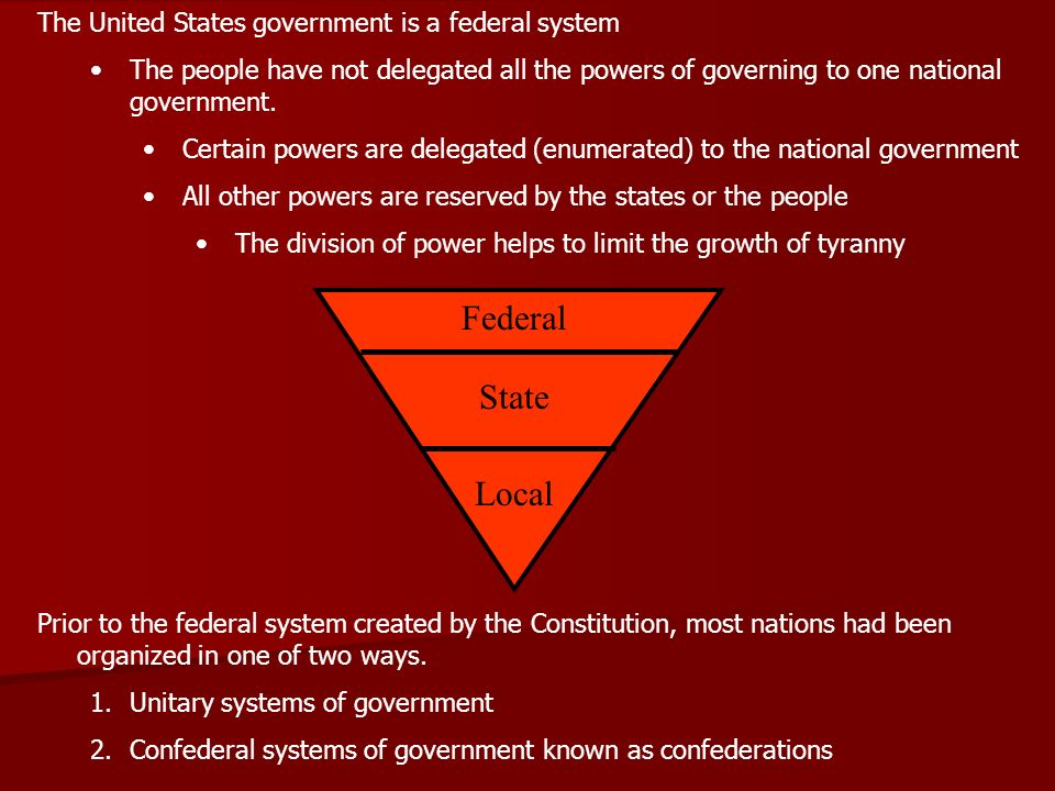 Federal State Local The United States government is a federal system