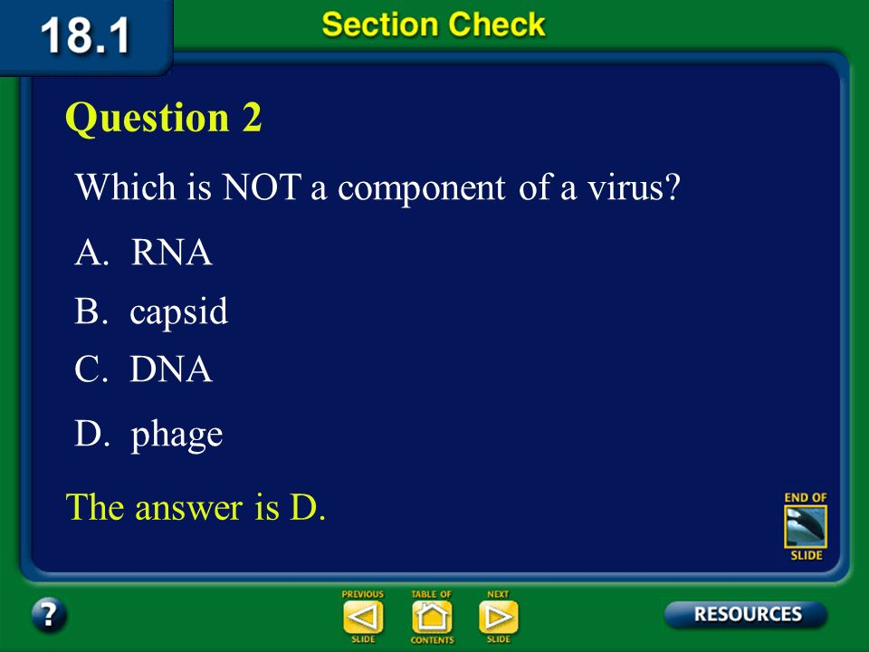 Question 2 Which is NOT a component of a virus A. RNA B. capsid