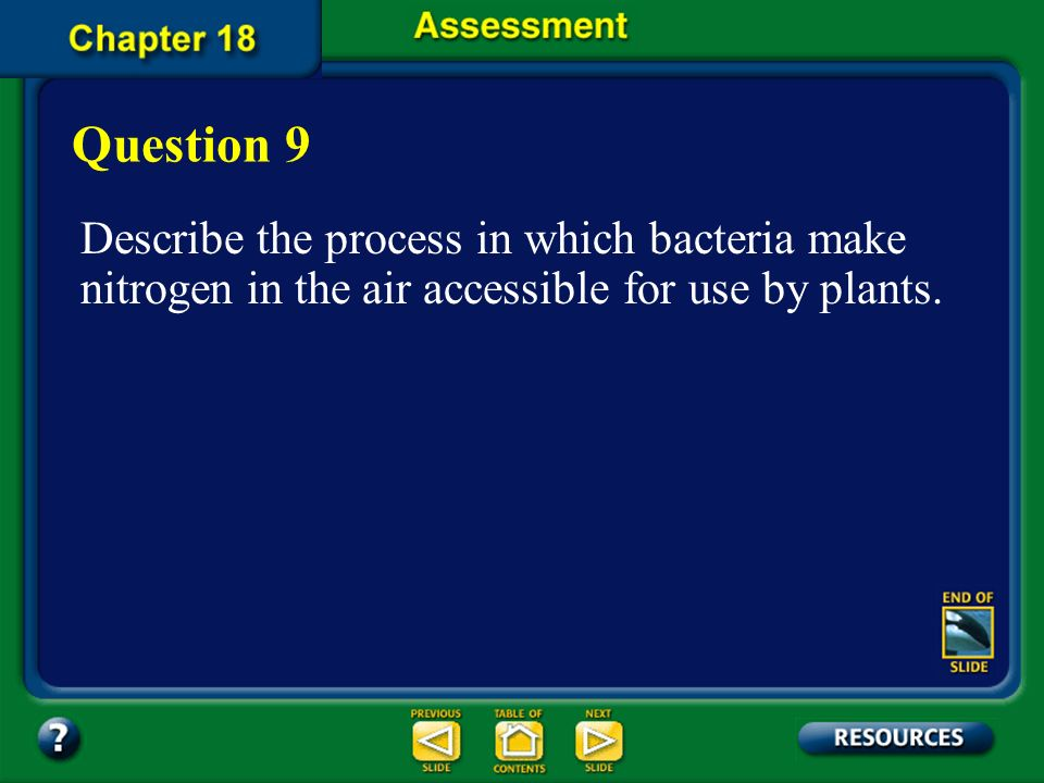 Question 9 Describe the process in which bacteria make nitrogen in the air accessible for use by plants.
