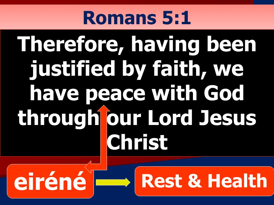 Romans 5:1 Therefore, having been justified by faith, we have peace with God through our Lord Jesus Christ.