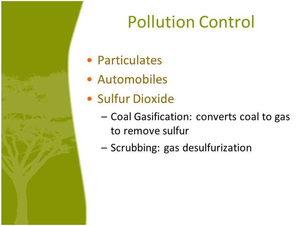 Pollution Control Particulates Automobiles Sulfur Dioxide