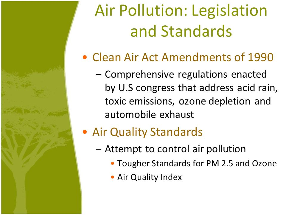 Air Pollution: Legislation and Standards