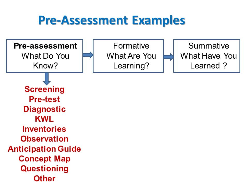 Pre-Assessment Examples