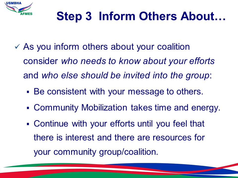 Step 3 Inform Others About…