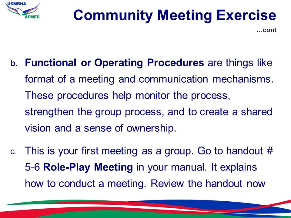 Community Meeting Exercise …cont