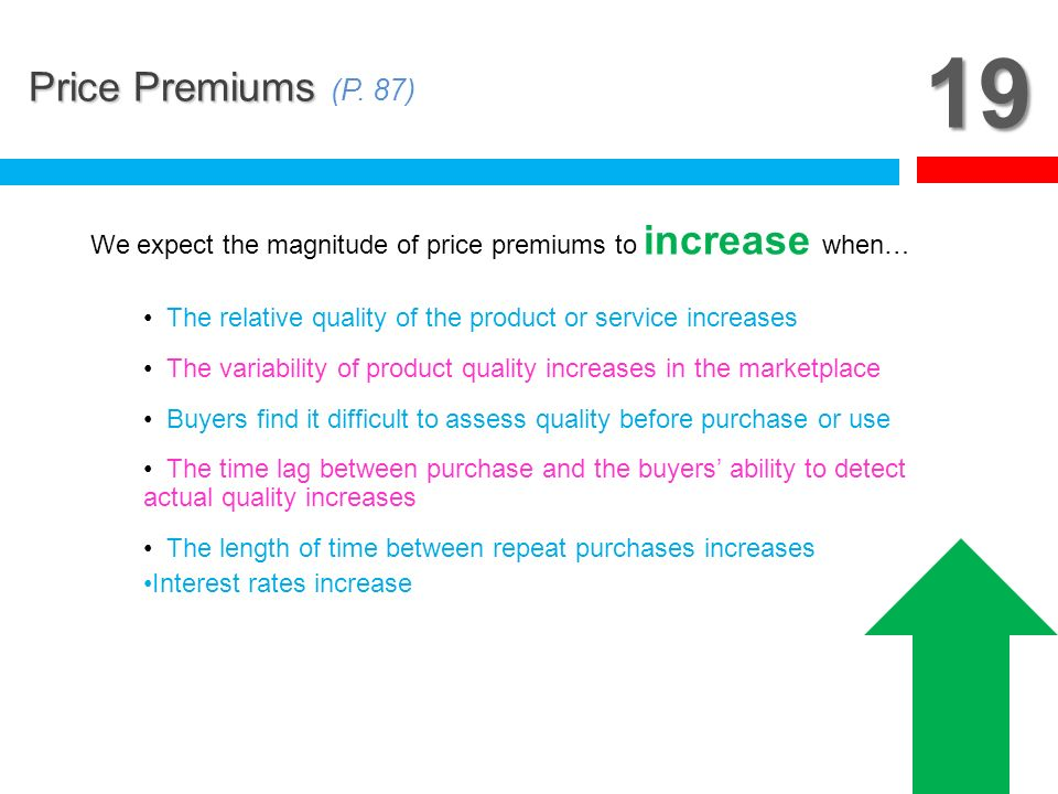 19 Price Premiums (P. 87) We expect the magnitude of price premiums to increase when… The relative quality of the product or service increases.