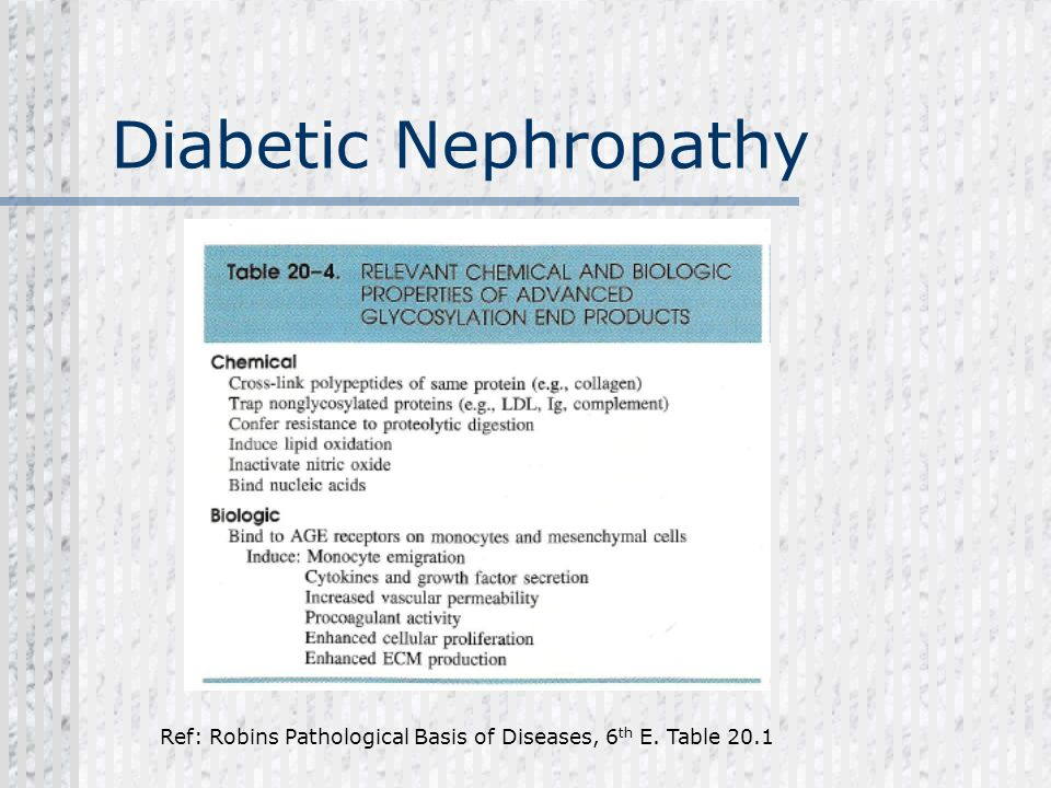 Diabetic Nephropathy Ref: Robins Pathological Basis of Diseases, 6th E. Table 20.1