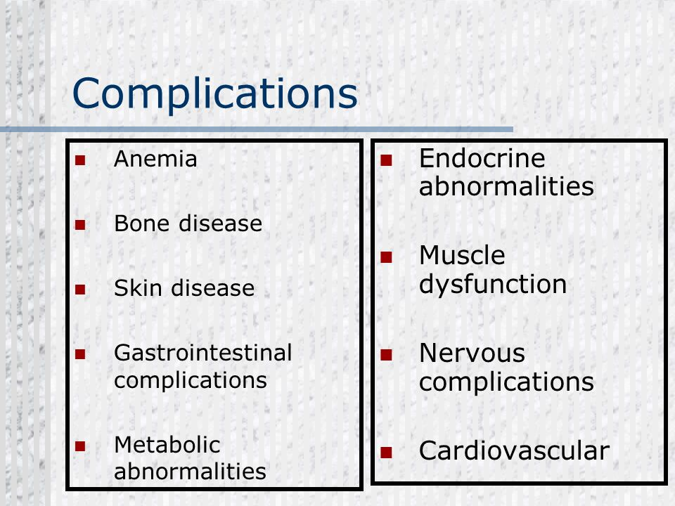 Complications Endocrine abnormalities Muscle dysfunction