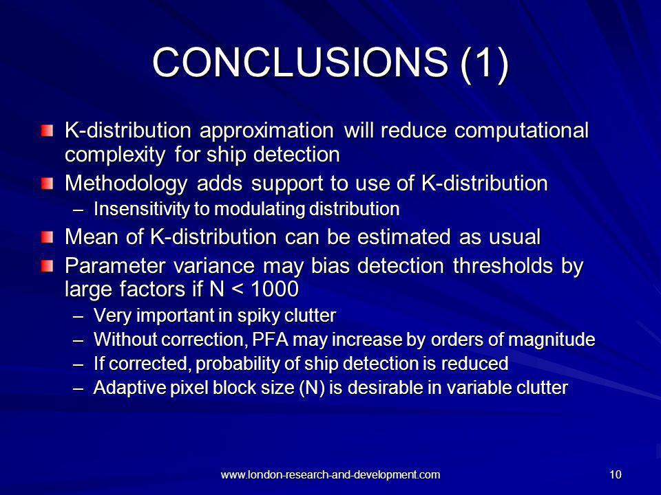 CONCLUSIONS (1) K-distribution approximation will reduce computational complexity for ship detection.