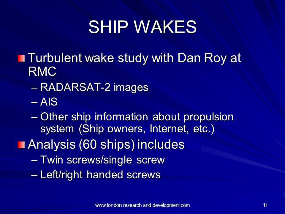 SHIP WAKES Turbulent wake study with Dan Roy at RMC