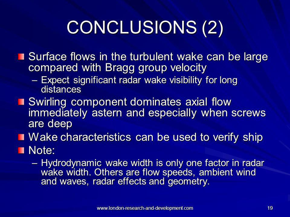 CONCLUSIONS (2) Surface flows in the turbulent wake can be large compared with Bragg group velocity.