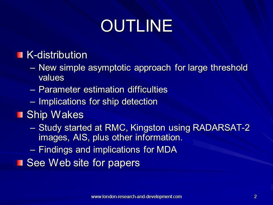 OUTLINE K-distribution Ship Wakes See Web site for papers