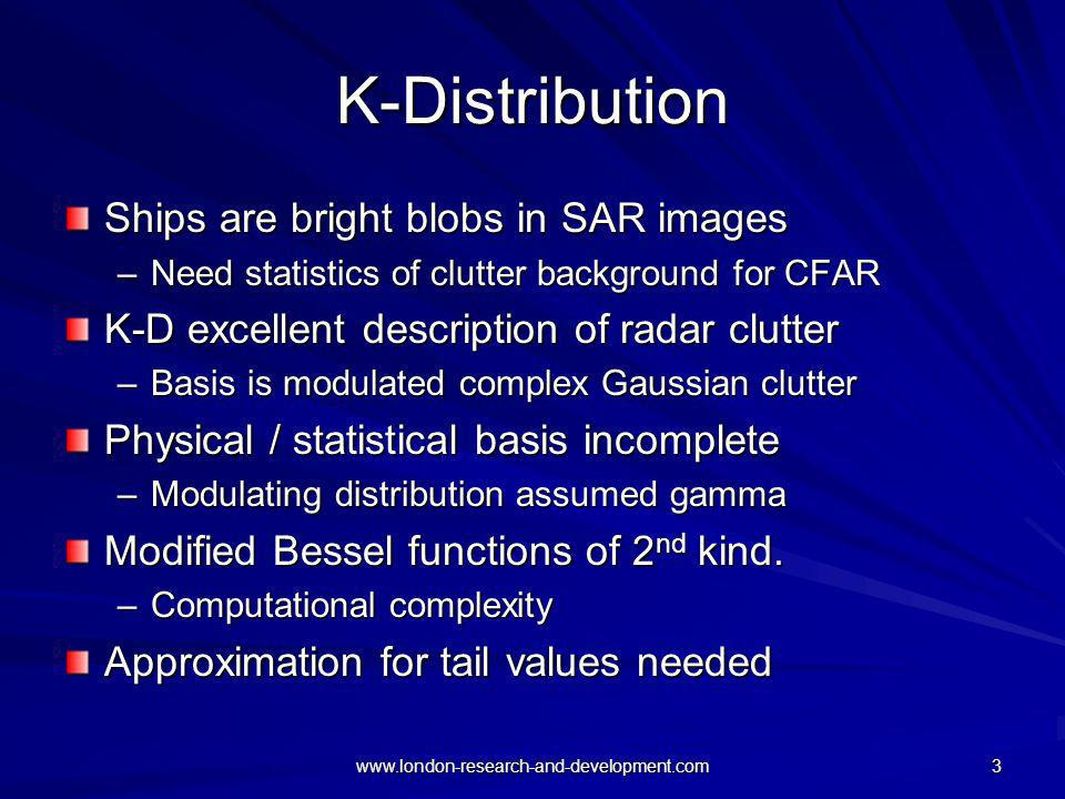 K-Distribution Ships are bright blobs in SAR images
