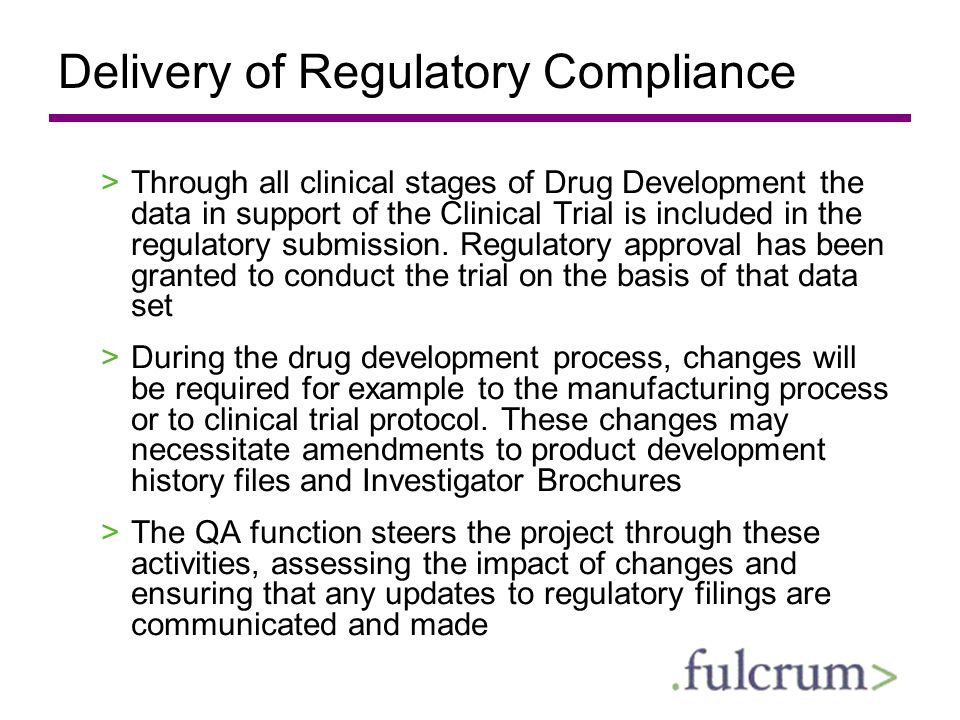 Delivery of Regulatory Compliance