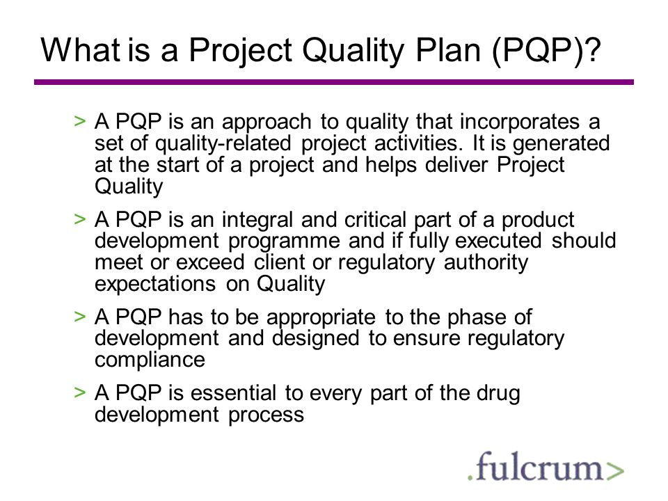 What is a Project Quality Plan (PQP)