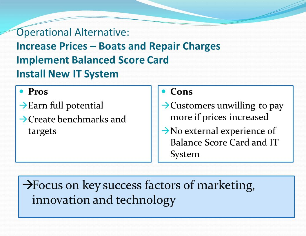 Focus on key success factors of marketing, innovation and technology