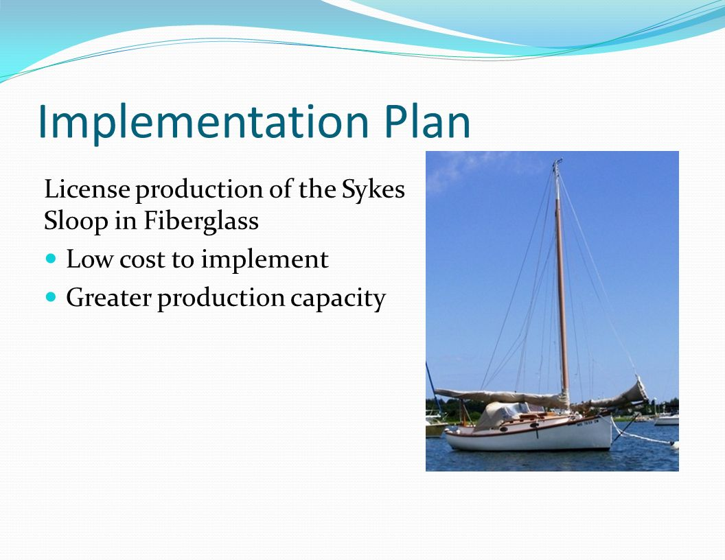 Implementation Plan License production of the Sykes Sloop in Fiberglass.