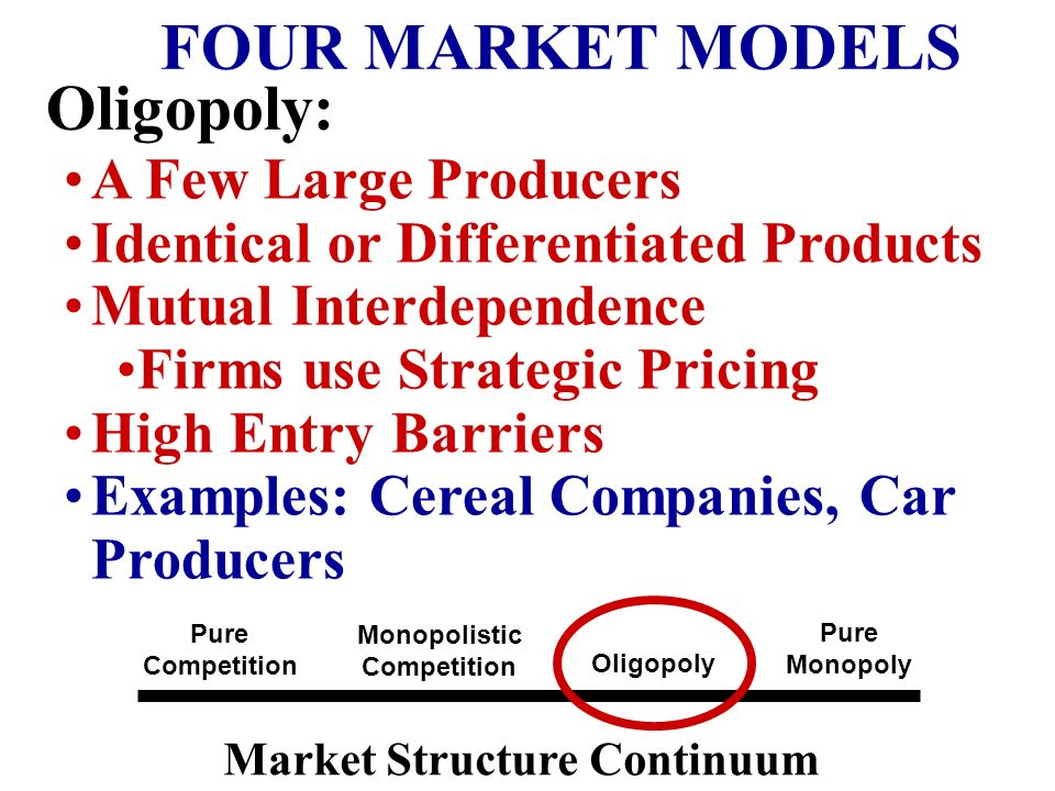 FOUR MARKET MODELS Oligopoly: A Few Large Producers