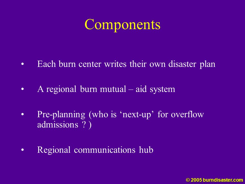 Components Each burn center writes their own disaster plan