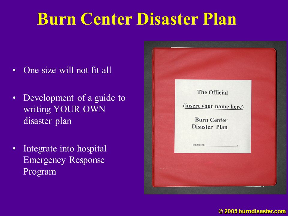 Burn Center Disaster Plan