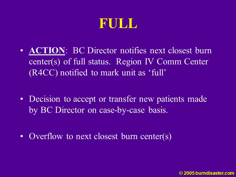 FULL ACTION: BC Director notifies next closest burn center(s) of full status. Region IV Comm Center (R4CC) notified to mark unit as 'full'