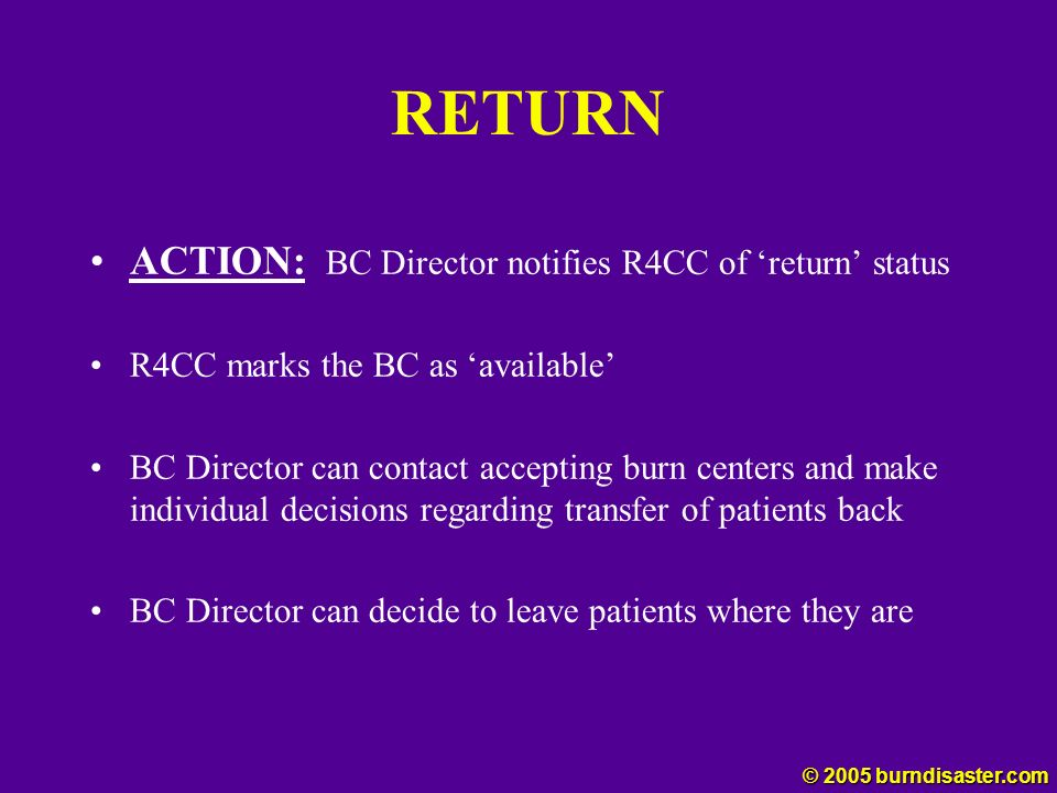 RETURN ACTION: BC Director notifies R4CC of 'return' status
