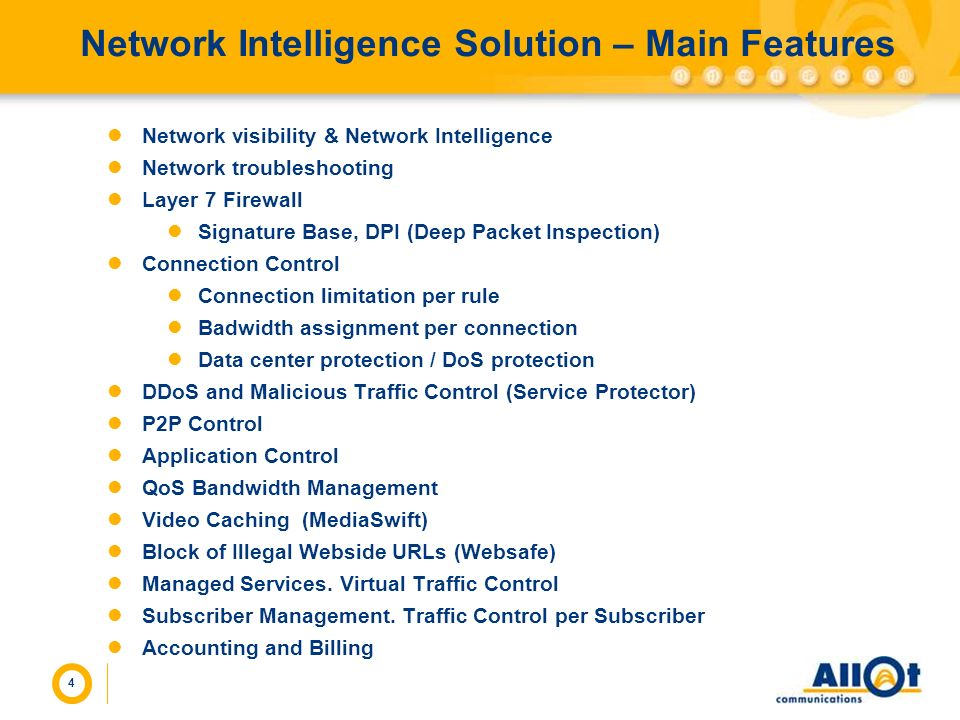Network Intelligence Solution – Main Features