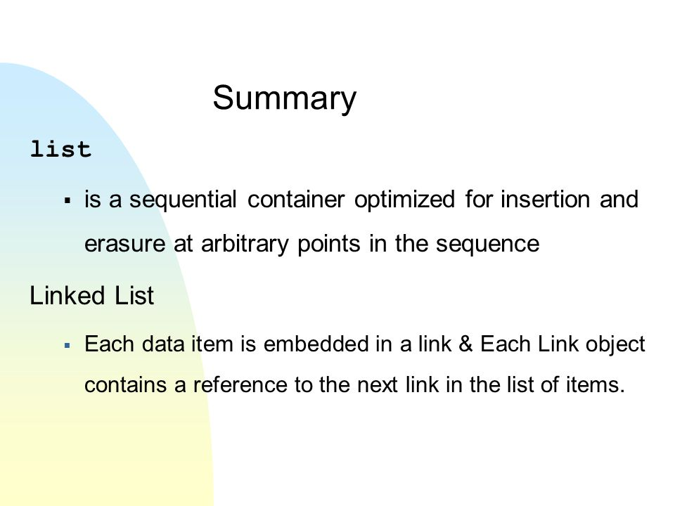 Summary list Linked List