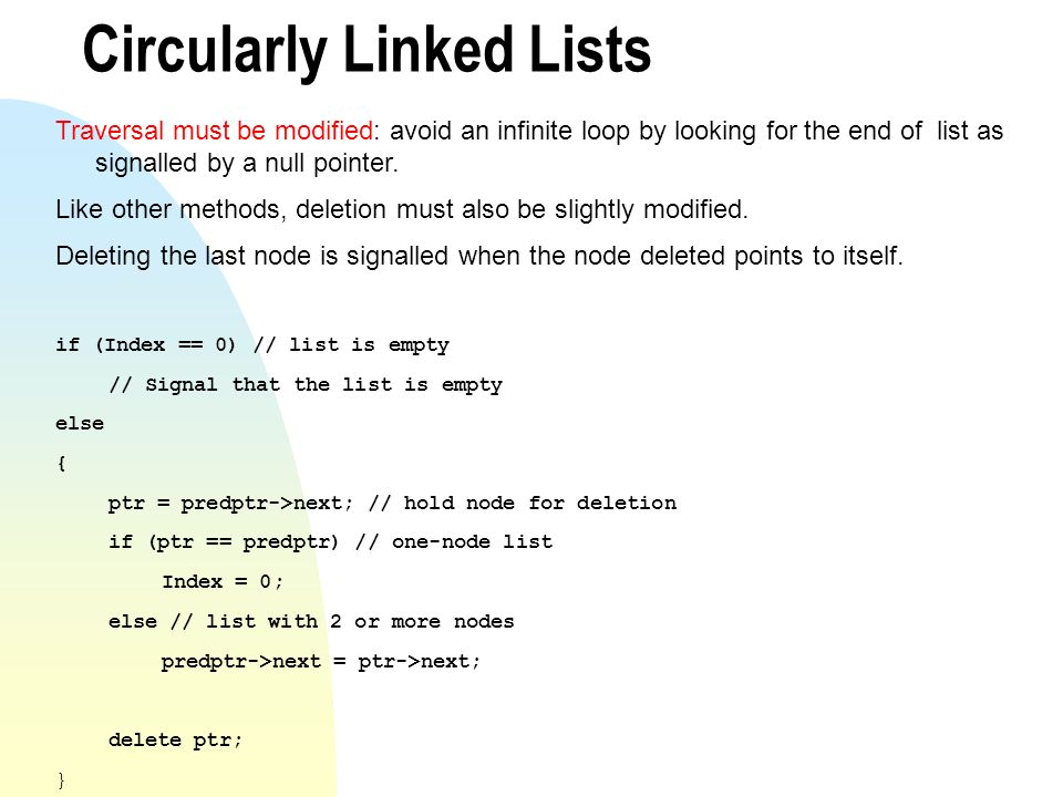 Circularly Linked Lists