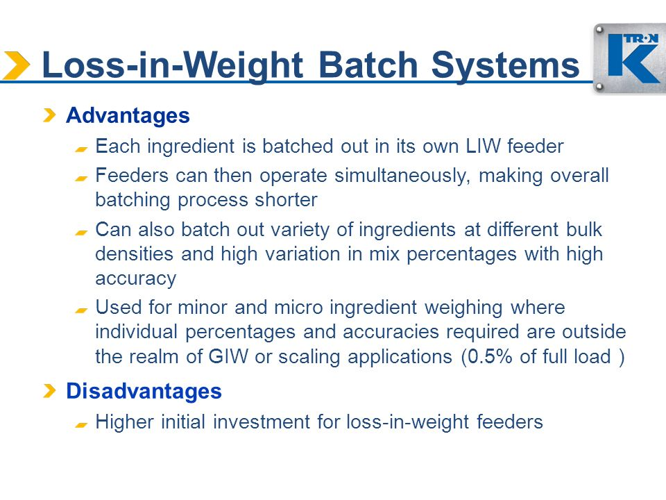 Loss-in-Weight Batch Systems