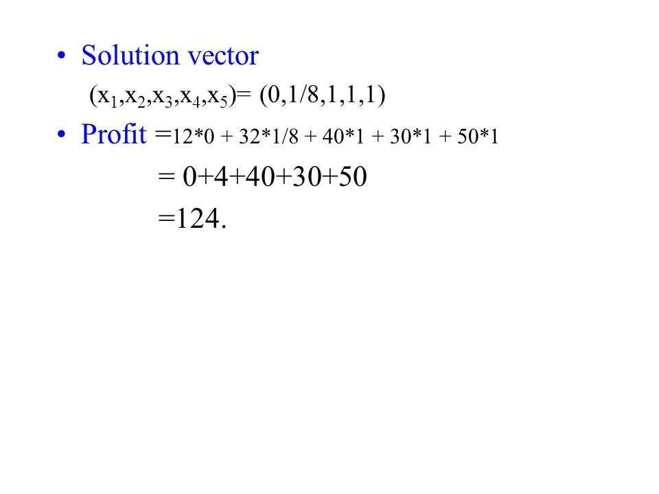 Solution vector Profit =12*0 + 32*1/8 + 40*1 + 30*1 + 50*1