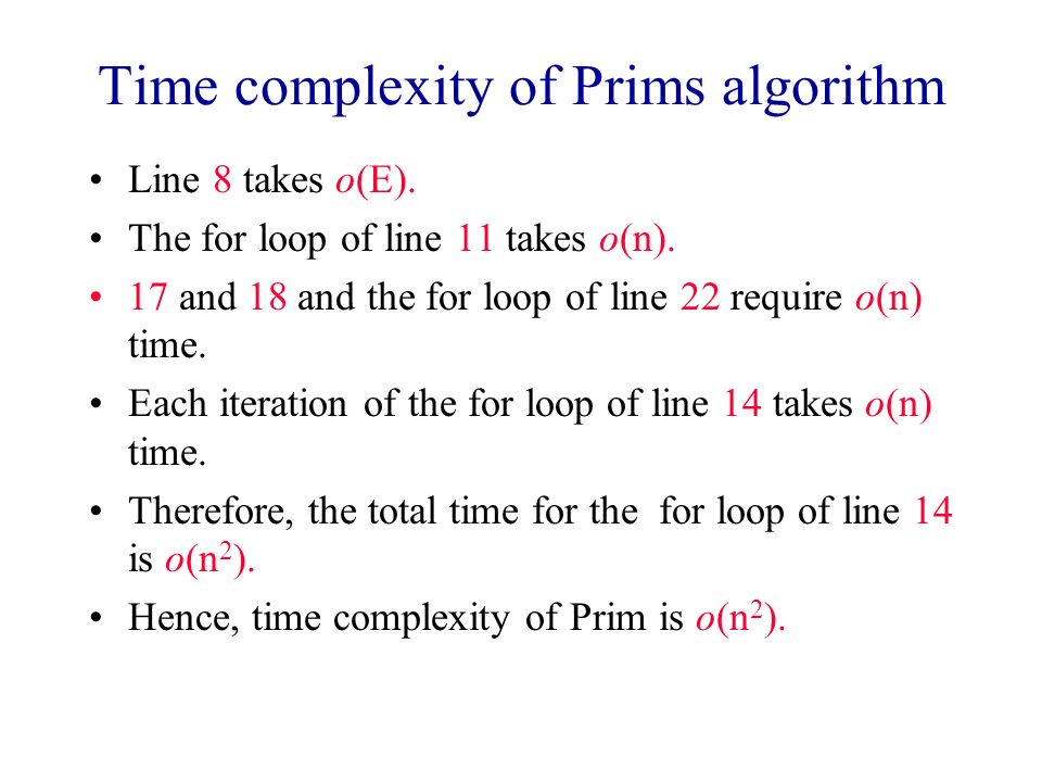Time complexity of Prims algorithm