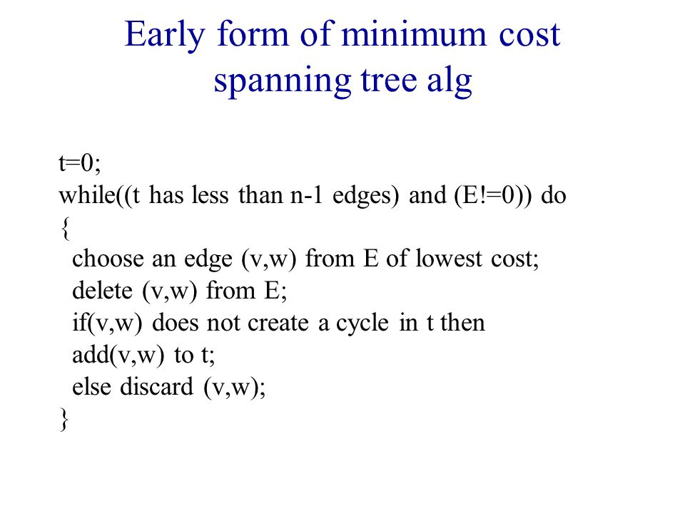 Early form of minimum cost spanning tree alg