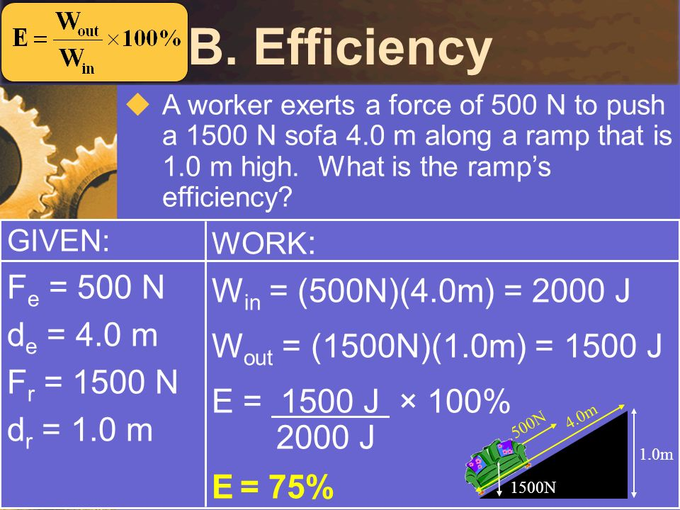 B. Efficiency Fe = 500 N Win = (500N)(4.0m) = 2000 J de = 4.0 m
