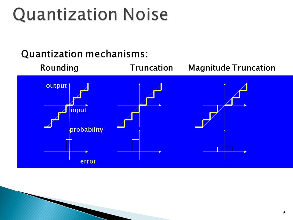 Quantization Noise Quantization mechanisms: