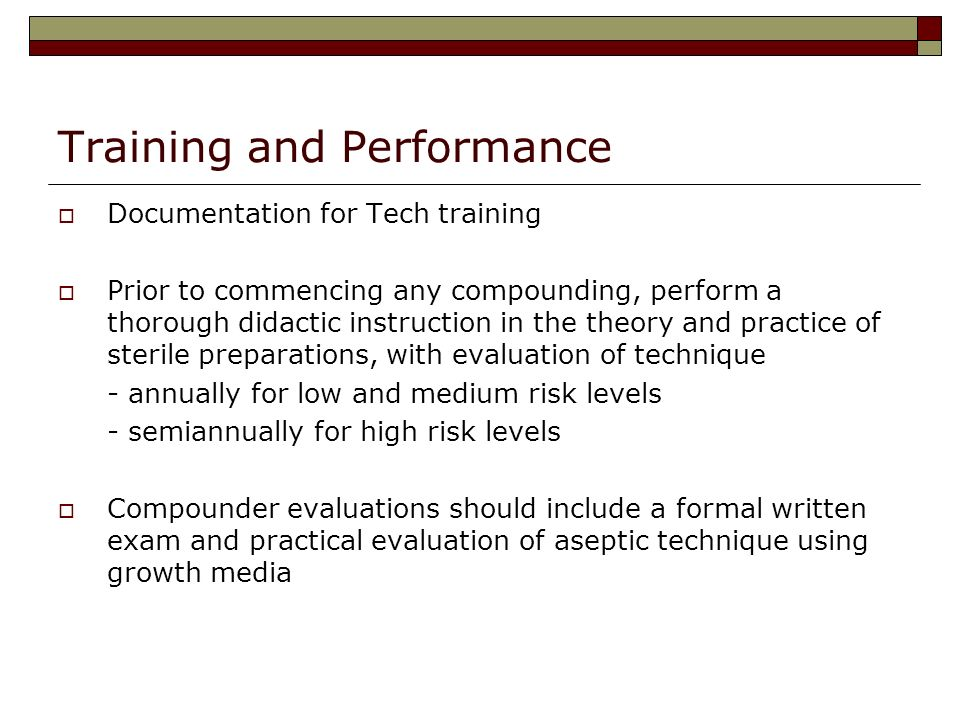 Training and Performance