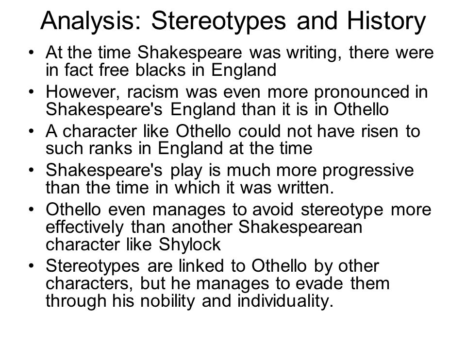 Analysis: Stereotypes and History