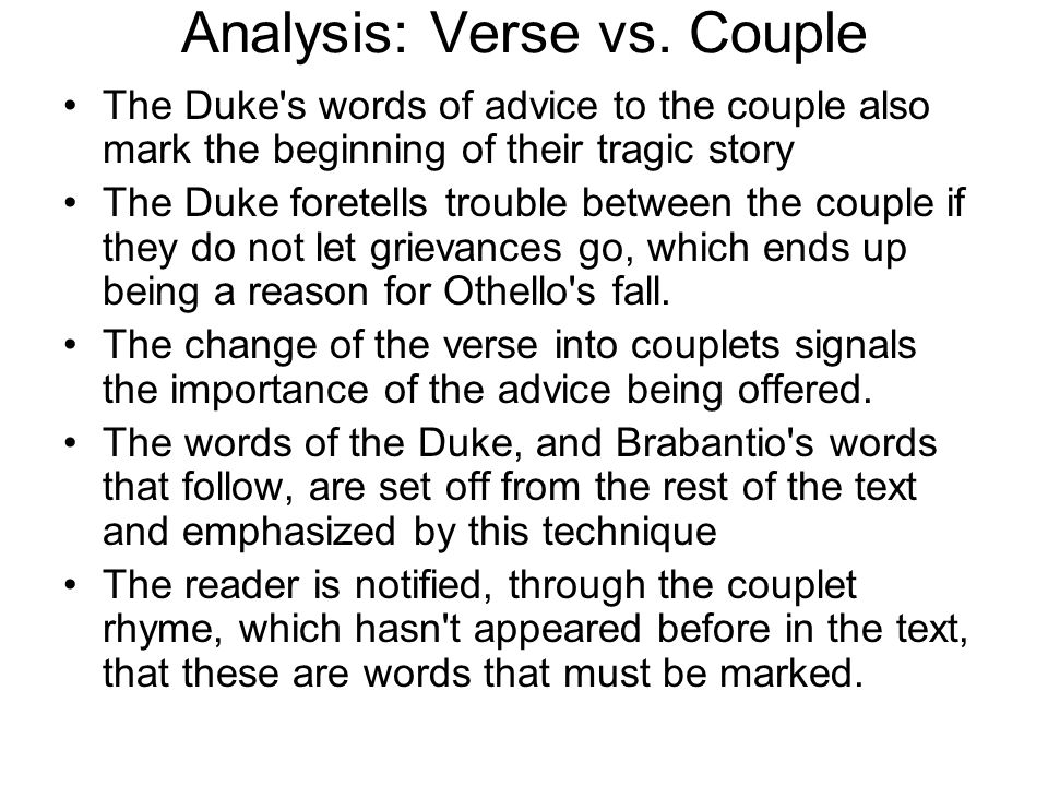 Analysis: Verse vs. Couple
