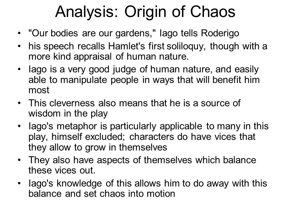 Analysis: Origin of Chaos