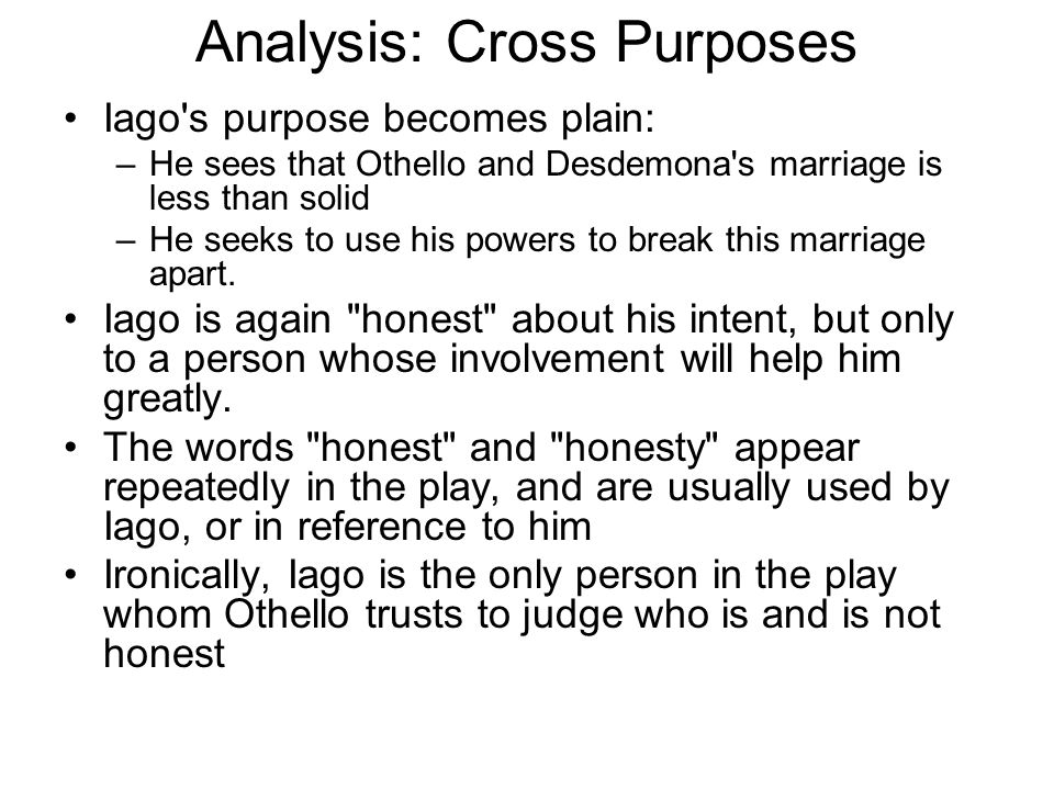 Analysis: Cross Purposes