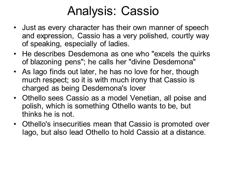 Analysis: Cassio