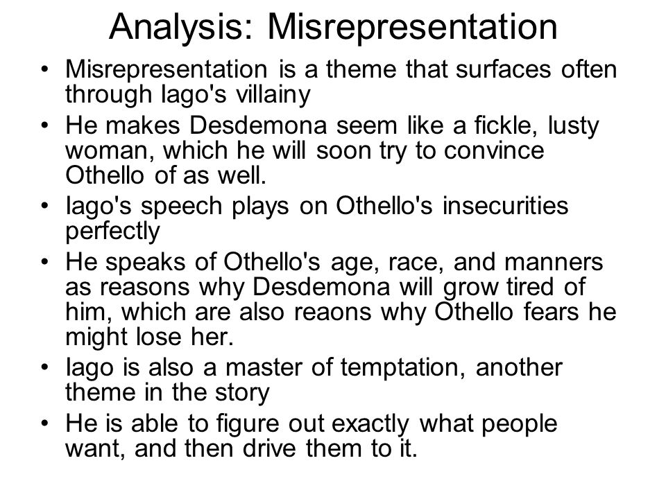 Analysis: Misrepresentation